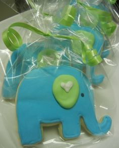elephant baby shower.. Decorations instead of cookies.. Grey with teal ear