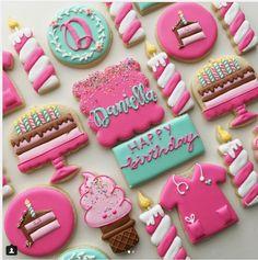"Margaret Rettig Nelson on Instagram: ""I love pink Ice cream cone inspired by @semisweetmike #birthdaycookies #decoratedcookies #cakecookies #candlecookies…"" • Instagram"