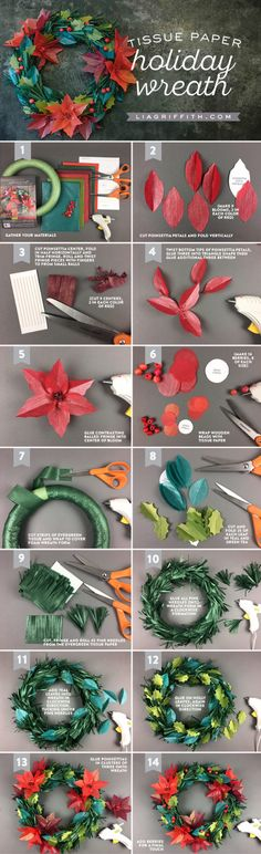 Tissue Paper Holiday Wreath:
