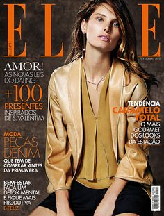 #GiorgioArmani silk shorts, leather jacket and silk top featured on the cover of Elle Portugal February 2015