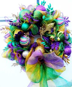 Deco Mesh Mardi Gras Wreath with ball ornaments