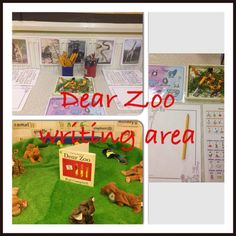 Our writing area in EYFS for our animal topic -linked to Dear Zoo story. Talk 4 Writing, Writing Area, Dear Zoo Eyfs, Reception Class, Reception Ideas, Rainforest Theme, Le Zoo, African Animals, Safari Animals