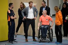 Prince Harry talks with an athlete during the official launch of the one year countdown to the Invictus Games in the Netherlands today Prince Harry Pictures, Prince Of Wales, Prince Henry, Doria Ragland, Invictus Games, Becoming A Father, After Birth, Sport Hall, Presents For Girls