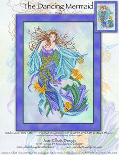 Joan Elliott Dancing Mermaid, The - Cross Stitch Pattern. Model stitched on 28 Ct. Big Bang Lugana by Polstitches (or fabric of your choice) with DMC floss, Kre Mermaid Cross Stitch, Mill Hill Beads, Cross Stitch Pattern Maker, Dmc Floss, Hand Embroidery Patterns, Counted Cross Stitch Patterns, Cross Stitching, Needlework, Fairy