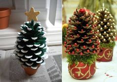 DIY Pine cone Christmas Trees - Miniature Christmas Tree Caft DIY Projects Beautiful Pine cone Christmas decorations with stand. You Will Need: Pine cone Glu. Pine Cone Christmas Decorations, Pine Cone Christmas Tree, Noel Christmas, Christmas Ornaments, Xmas Trees, Tree Decorations, Pinecone Ornaments, Reindeer Ornaments, Christmas Lanterns