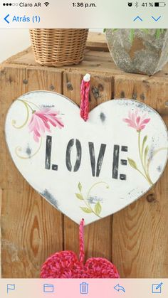 Corazón love Wood Crafts, Diy And Crafts, Arts And Crafts, Protea Art, Lace Heart, Do It Yourself Crafts, Love Is All, Painting On Wood, Folk Art