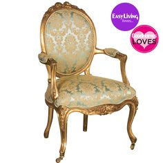 Versailles Damask Gold Chair with French Silk Damask Upholstery - Upholstery Ideas French Chairs, Chair Upholstery, Blue Accent Chairs, French Furniture, Armchair, Rustic Furniture Diy, Gold Leaf Furniture, Upholstery Armchair, Upholstered Chairs