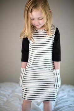 Black / Stripe Pocket T-shirt Dress - Black / Stripe Pocket T-shirt Dress Baby Girl Dresses Diy, Little Girl Dresses, Girls Dresses, Dress Girl, Toddler Dress, Toddler Outfits, Kids Outfits, Girl Toddler, Winter Outfits