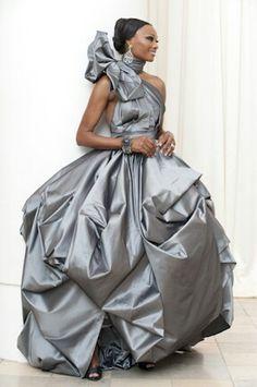 5c8fb12664 Cynthia Bailey s (Housewives of Atlanta) custom platinum bridal gown.