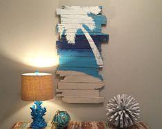 Beach Decor Palm Tree Grey Lt Lean 24 x 43 by WoodburyCreek