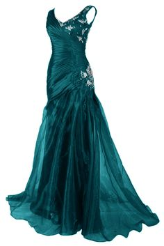 Sunvary 2015 New Organza Mermaid Long Evening Prom Dress Formal Gowns - US Size 2- Dark Teal