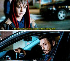 """""""Wait -- you're guilt-tripping me, aren't you?"""" (Iron Man 3)"""