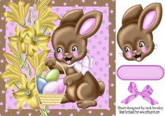 Bunny with Easter eggs and daffodils 8x8 on Craftsuprint - Add To Basket!