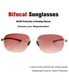 bfb57f5dc1ab Bifocal Sunglasses Rimless Wrap Sun Readers Lightweight TR90 Frame - Brown  - C5184A8AMDW