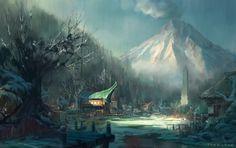 River Fantasy Village Art