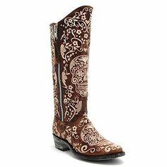 "Old Gringo 13"" Brass Sugar Skull Klak Razz Boot at Maverick Western Wear"
