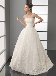 Brautkleider - $232.99 - Duchesse-Linie Trägerlos Sweep/Pinsel zug Organza Brautkleid mit Rüschen Blumen (00205001293)