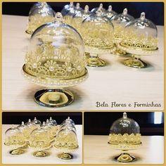 Mini cúpula para docinho decoradas somente para princesas!!! #festamenina #festadourado #lembrancinha #batizado