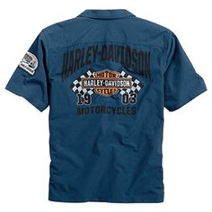 Race Flags and Harley-Davidson® go hand in hand on this blue men's button up shirt. Lightweight and great for those hot days outside. Available at Bourbeuse Valley Harley-Davidson®