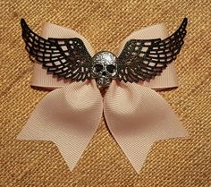 Handmade Rockabilly Pinup Punk Pink Bow Black Wings Silver Skull Hair Accessory