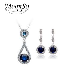Moonso Multicolor CZ Stone Wedding Engagement Bridal Real Sterling Silver 925 Genuine Simulated Jewelry Sets for women LJ646S