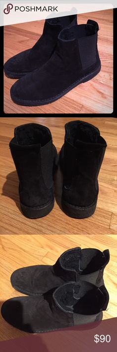 Vince black suede booties Black suede with shearling inside. In excellent condition. Worn once. Vince Shoes Ankle Boots & Booties