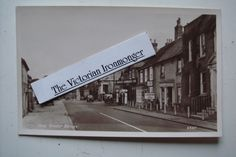 1950's Black & White Postcard of High St., Botley, Hants Shows Garage, Petrol Pump, Cafe, Cars & Houses
