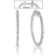 14k White Gold 2.61 Dwt Diamond 1.5 Securehinge Hoop Earrings – JewelryWeb   GlobalFeri.com Fine and Fashion Jewelry