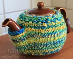 Knitted Tea Pot Cover - I think I can make my own crochet version.  Love this one from Simply Notable!