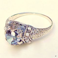 Russian Alexandrite,Seed Pearl,Edwardian Style Ring,Purple Blue,Sterling Silver Ring,Vintage Ring,Ornate Ring,Vintage Jewelry,Gemstone Ring