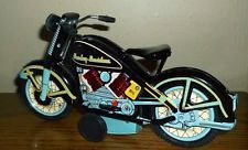 Rare Miniature Harley Davidson Motorcycle 1958 Tin Toy Reproduction In Blue Mint