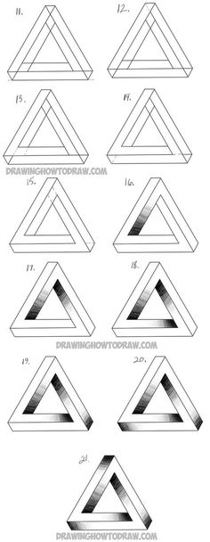 drawing an impossible triangle step by step drawing tutorialYou can find drawings and more on our website.drawing an impossible triangle step by step drawing tutorial Drawing Lessons, Drawing Techniques, Drawing Tutorials, Drawing Tips, Art Tutorials, Drawing Sketches, Drawing Drawing, Drawing Ideas, Easy 3d Drawing