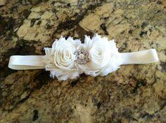 Ivory shabby chiffon flowers headband with jewel & pearl embellishment. (12-24 mos.) $10