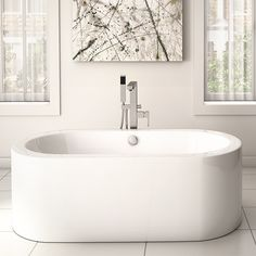 Oval freestanding bathtub by Alcove for graceful white bathroom / Wisteria Collection Wood Bathtub, Freestanding Bathtub, Turquoise Cabinets, Nautical Bedding, Corner Tub, Bath Tiles, Rustic Bathroom Decor, Diy On A Budget, White Bathroom