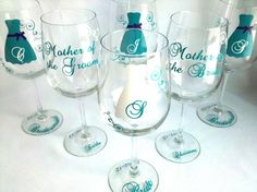 Bride and Bridesmaids gift wine glasses by WaterfallDesigns