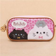 cute pink and brown cat and paws pencil case from Japan 2