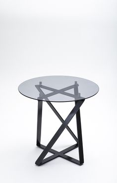 Lofty Glass Table in Smoked Tempered Glass + No. 7 Steel.