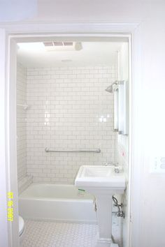 Bathroom Exquisite Vintage Bathroom Tile Patterns With White Subway Wall Style Ideas And Hexagon Floor Tiles With Chrome Bathroom Accessories