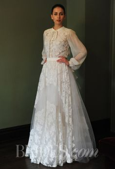 """Temperley Bridal - Spring 2014 """"Petunia"""" full lace and tulle skirt, paired with long-sleeve Temperley Blouse Diana Wedding Dress, Muslim Wedding Dresses, Wedding Dresses 2014, Luxury Wedding Dress, Wedding Dress Styles, Boho Wedding Dress, Wedding Attire, Homecoming Dresses, Wedding Gowns"""