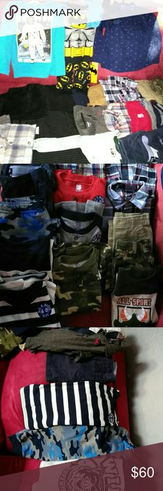 Huggge Boy Bundle 3T/4T NWT Boy Clothes.  Almost all brand new with tags.  Some new without tags and a few like new pieces.  1 nwt set Pj's W slipper socks.  4 new pr socks.  1 button up with bow tie NWT.  1 NWT Long sleeve space monkey shirt.  1 blue camo sweats with 2 mix n match shirts NWT.  2 pr navy blue shorts and 2 short sleeve shirts. 2 plaid button ups NWT.  4 pair pants n 4 long sleeve shirts all mix n match all NWT.  1 grey skinny jeans and flannel.  1 suit vest and tie. 1 Pair…