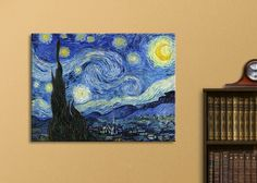 """Amazon.com: Wall26® - Starry Night by Vincent Van Gogh - Oil Painting Reproduction on Canvas Prints Wall Art, Ready to Hang - 16"""" x 20"""": Posters & Prints"""