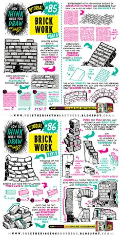How to draw BRICKS, BRICKWORK and WALLS tutorial by STUDIOBLINKTWICE.deviantart.com on @DeviantArt