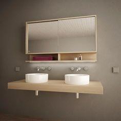 Badezimmer Ideen Spiegelschrank mit Schiebetüren und LED Masima 989705218