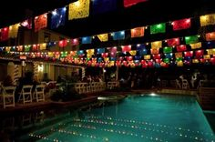Stef- imagine the banners over the pool at Marrakesh Mexican Birthday Parties, Mexican Fiesta Party, Fiesta Theme Party, Birthday Party Themes, Themed Parties, 21st Party, Luau Theme, Birthday Ideas, Mexican Centerpiece