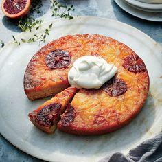 Upside-Down Cakes | Citrus Upside-Down Cake with Sour Whipped Cream  | MyRecipes.com