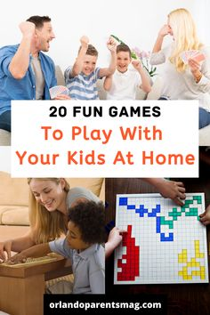 Are you looking for some fun games to play at home with the kids while cooped up in the house? Here is our roundup of family friendly games to play at home. Family Game Night, Family Games, Night Kids, Family Family, Charades For Kids, Craft Activities For Kids, Classic Board Games, Board Games For Kids, Awkward Family Photos Game