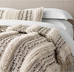 RH's Moroccan Wedding Oversized Bed Throw - Striped:In the Atlas Mountains of Morocco, Berber artisans weave wool blankets known as handira to present to