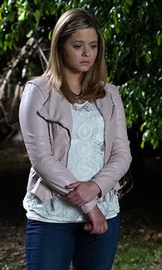 Ali's white lace top and light pink leather jacket on Pretty Little Liars.  Outfit Details: http://wornontv.net/49944/ #PLL