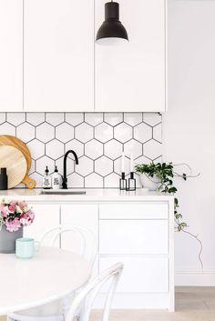 Scandinavian White Kitchen with Geometric Tiles - Scandinavian Interiors