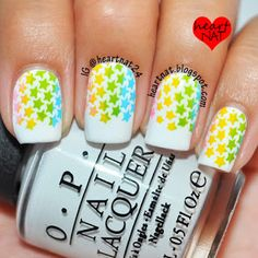 heartnat: Bundle Monster Holiday Stamping Plate Collection Review. Could easily be adapted for 4th of July nails. Used: OPI My Boyfriend Scales Walls stamped using BM H25 in Konad Psyche Pink, Konad Yellow, Konad Princess Apple Green, & Konad Sky Pearl.